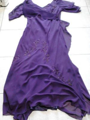Vendo Vestido De Fiesta Largo Color Uva Talle L Posot Class