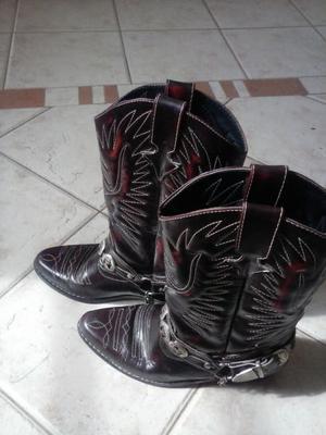 Botas texanas de cuero de hombre