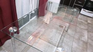 Mesa de vidrio templado con bordes biselados de 1,50cm x