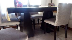 Oportunidad.! juego mesa con vidrio y 6 sillas
