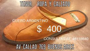 PANTUFLAS DE CUERO ARGENTINO a precio de FABRICA en TENOR