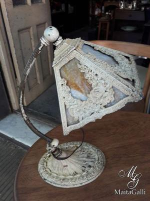 Antigua Lámpara Art Nouveau Circa  Con Brazo Curvado.