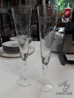 Antiguo Par De Copas Cristal Champagne. Cód.: #