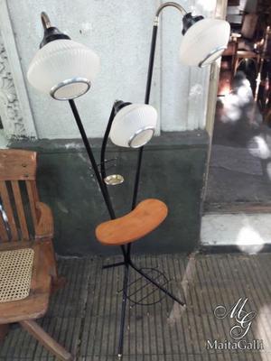 Lámpara De Pie Vintage Retro 3 Luces Restaurada. Cód.:
