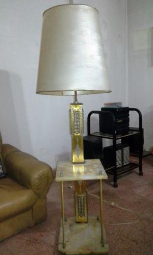 Gran lámpara de pie, retro, dorado y onix
