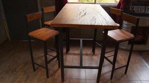 Mesa diaria o desayunador mas 4 banquetas.Estilo Industrial