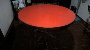 Mesa redonda de madera estilo rustico para comedor