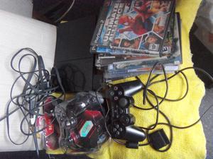 Playstation 2, slim, 2 joysticks memoria y juegos,