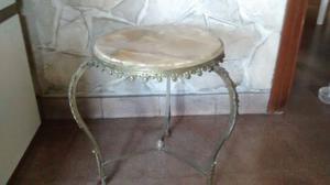 mesa ratona antigua estilo frances bronce,marmol.
