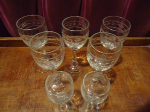 7 copas de cristal tallado