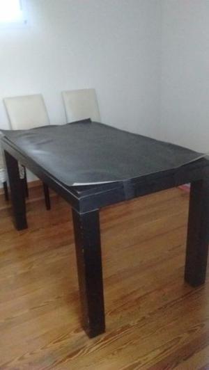 Mesa de pino laqueada negra