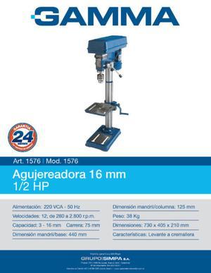 Agujereadora de Banco 16 mm 1/2 HP Gamma Mod.