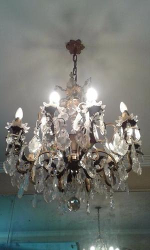Araña de bronce macizo, estilo Francesa, 11 luces.