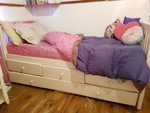 Cama 1 plaza con cajones y cama abajo