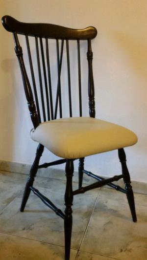 Juego 4 sillas windsor tapizadas americanas madera roble