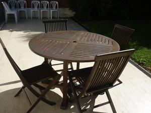 Mesa Para Jardin De Teka Para Exterior Y 4 Sillas Plegables