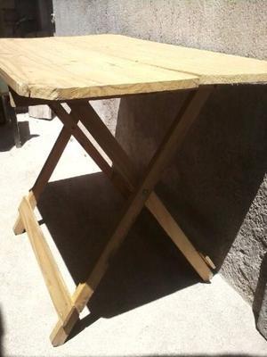 mesa auxiliar pino rústica $250