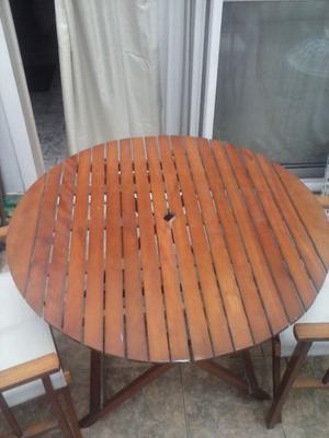 mesa redonda plegable con 2 sillas plegables con lona color