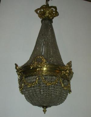 Antigua Araña Imperio en cristal y bronce Fees antiguedades