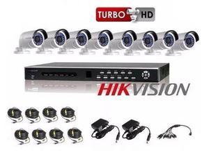 Kit Hikvision 8 Turbo Hd  Shst + 8 Cámaras Cables