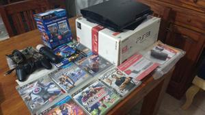PlayStation 3 completa con 2 jostick con kit movi 7 juegos