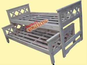 cama nido en pino macizo en xx.opcional elastico guatambu