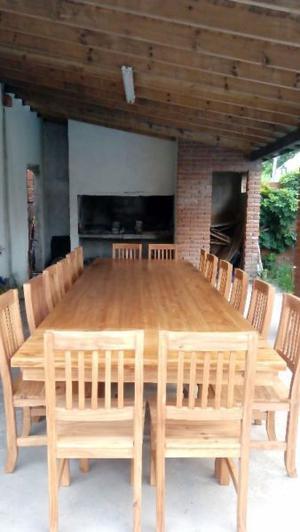 Mesa quincho 3 x 127 m 14 sillas mesa campo posot class for Sillas para quincho