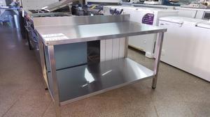 Mesa acero inoxidable con base y estante inferior de acero