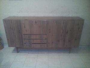 Mueble modular en formica c/ puertas, bar espejado y cajones