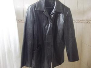 Saco de cuero de mujer, Talle L, color negro, con abrigo