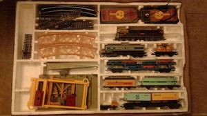Tren lima grande con vagon con autos y porta containers