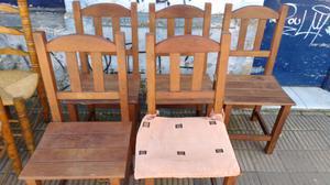 Juego de 6 sillas de algarrobo con almohadones