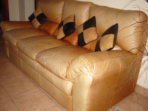Sofa / sillon 3 cuerpos cuero natural
