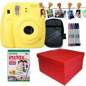 Caja Instax Mini 8 Amarilla 20 Fotos Kit Marcadores Broches