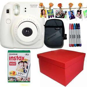 Caja Instax Mini 8 Blanca 20 Fotos Kit Marcadores Broches