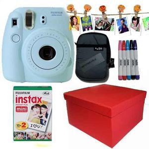 Caja Instax Mini 8 Celeste 20 Fotos Kit Marcadore 10 Broches