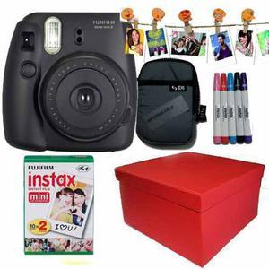 Caja Instax Mini 8 Negra 20 Fotos Kit Marcadores 10 Broches