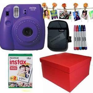 Caja Instax Mini 8 Violeta 20 Fotos Kit Marcadores 10 Broche