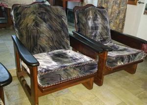 Sillones de algarrobo reclinables cuatro cuerpos y mesita