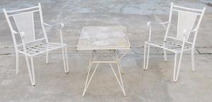 El Restaurador - Antiguo Juego de Jardin de Hierro 4 sillas!