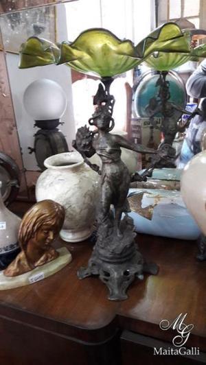 Fantástica Frutera o Centro De Mesa Antiguo con Figura de
