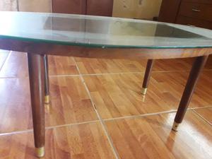Mesa ratona antigua madera y vidrio