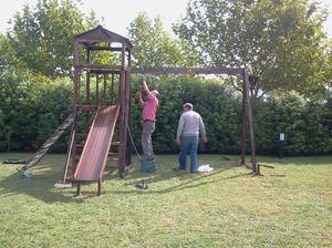 juegos para niños toboganes, hamacas de madera