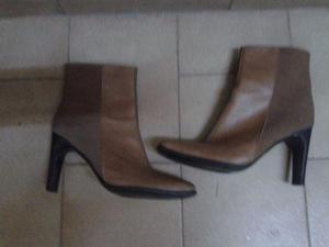 botas media caña, nuevas,t 38, beige cuero y gamusa$600