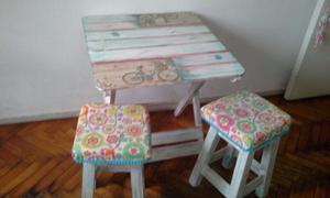 Mesas y sillas vintage nueva