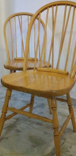 2 (de 8) sillas windsor madera maciza roble claro antiguas