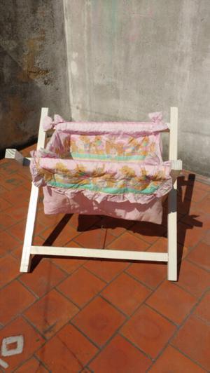 Catre cuna rosa de madera para bebes plegable (no incluye