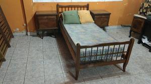 Juego De Dormitorio, Cama De Una Plaza + Colchon + Mesitas!