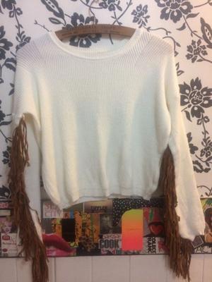 Sweter talle único c/ flecos