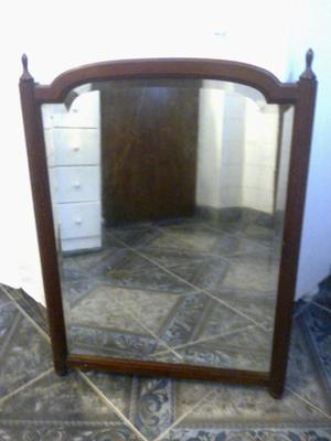 Antiguo Espejo Ingles Macizo De Madera Caoba